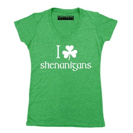 P&B I Shamrock Shenanigans, St Patrick's Day Women's V-neck, 2XL, Heather Green](Shamrock Lights)