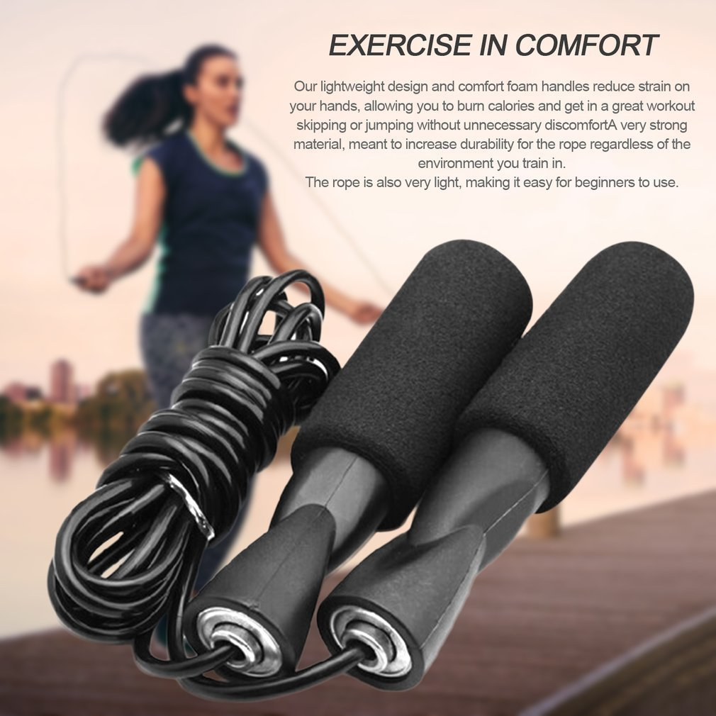 Bearing Skip Rope Adjustable Boxing Skipping Sport Jump Ropes Exercise Equipment with Thickened Anti-slip Foam by
