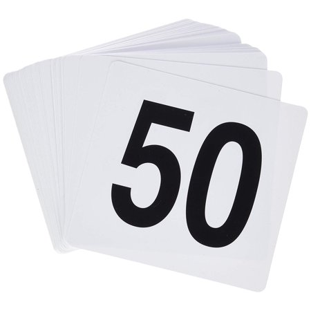 Table Number Cards (Winco TBN-50 1-50 Plastic Table)