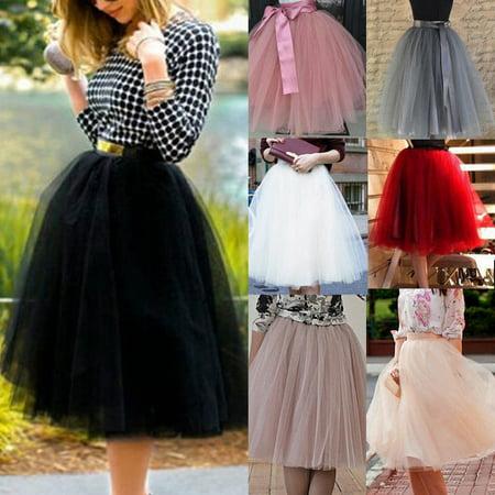 Diy Tulle Tutu (XIAXAIXU 7 Layers Women A Line Tulle Tutu Skirt Party Princess Ballet Dress Knee)