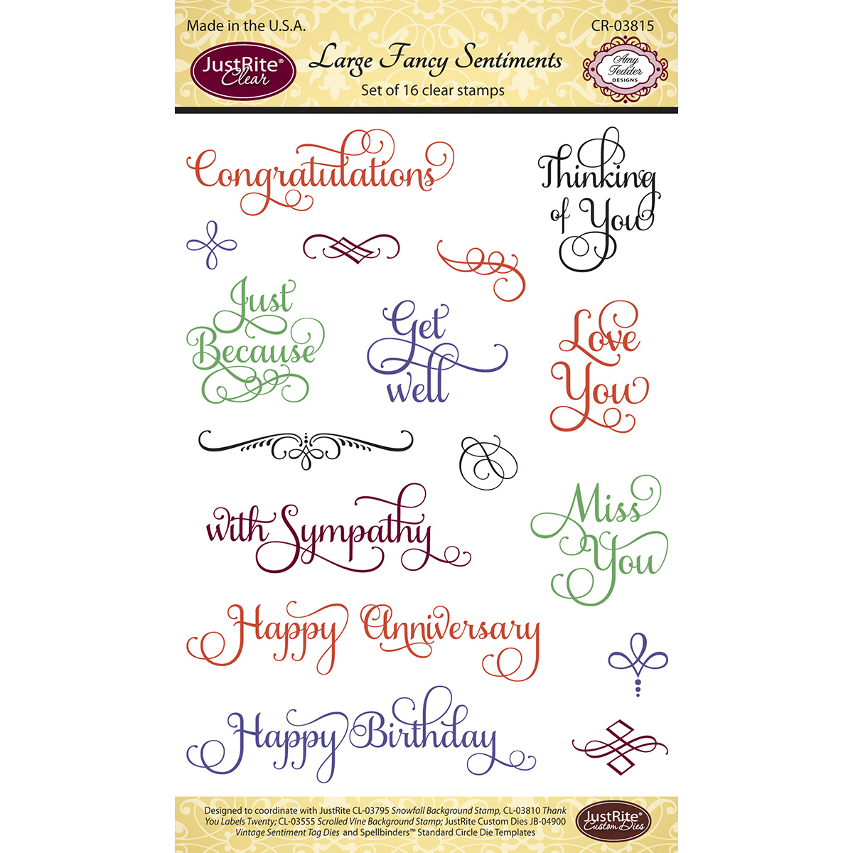 "JustRite Papercraft Clear Stamps 4""X6"" Large Fancy Sentiments"