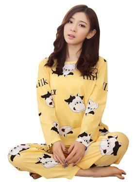 Women's Cute Cartoon Soft Long Sleeve Sleepwear Pajamas Set Homewear