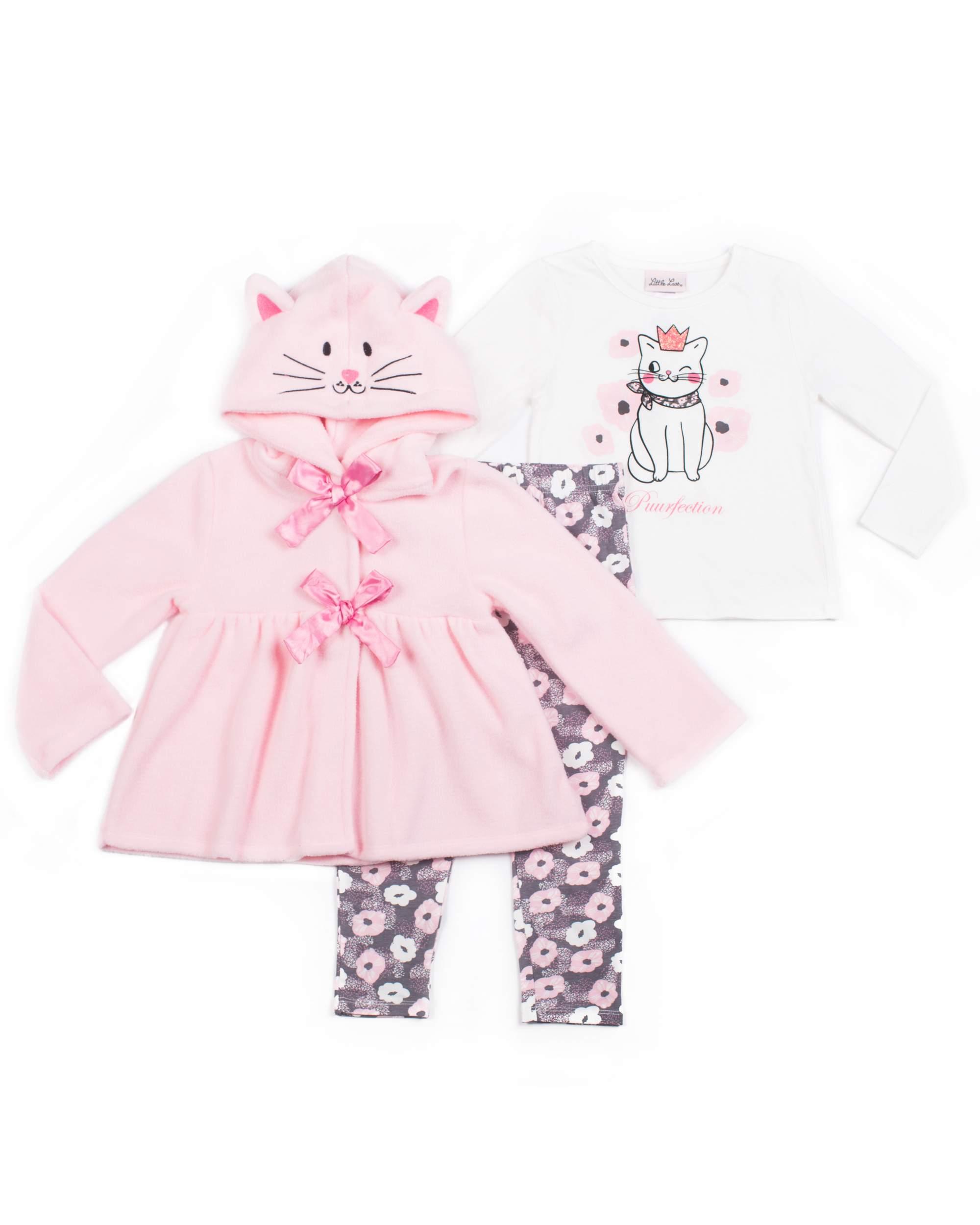 Little Lass 3D Critter Fleece Jacket, Graphic Tee & Legging, 3-Piece Outfit Set (Little Girls)