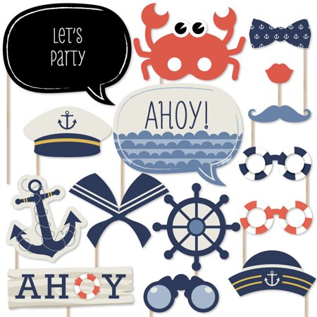 Ahoy - Nautical - Piece Photo Booth Props Kit - 20 Count