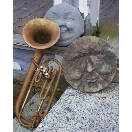 Framed Art for Your Wall Stone Sculpture Trumpet Brass Old Ancient Faces 10x13