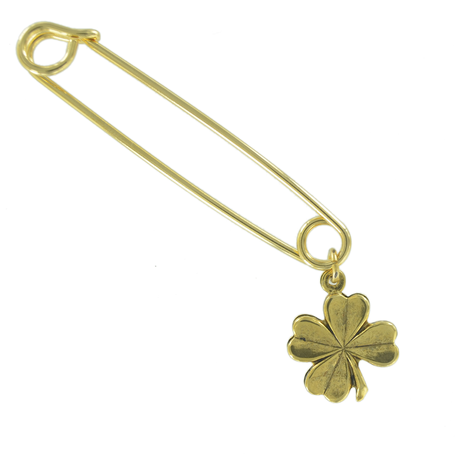 """Safety Pin Brooch 2"""" Gold Tone Four Leaf Clover Good Luck Irish Symbol Charm Dangle End by Ky & Co"""