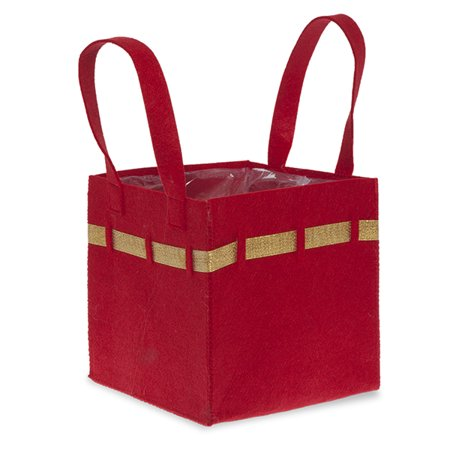 Red Square Felt Handle Bag with Gold Trim - Large 8in