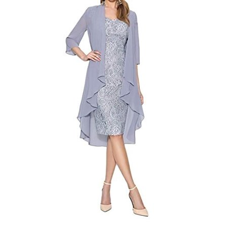 Women's Fashion Two Pieces Charming Lace Knee Length Evening Gowns Dresses Party Dresses for Mother of The Bride Dresses 2 Piece Blue Dress