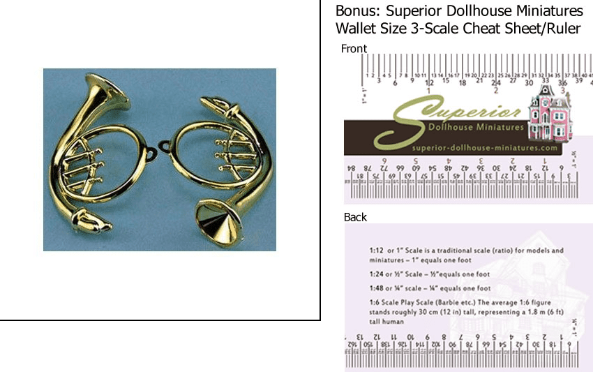 Dollhouse Miniature French Horn 2 pk w 3-Scale Wallet Ruler by
