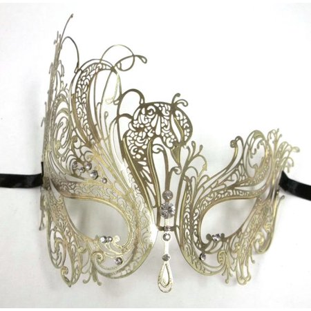 Golden Mask - Gold Rhinestone Swan Laser Cut Venetian Mask Masquerade Metal Filigree