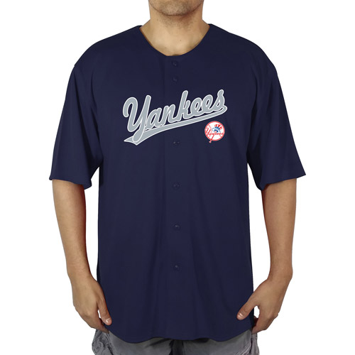 MLB NY Yankees Big Men's  Poly Button Down Jersey