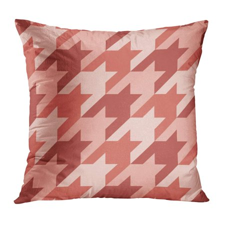 BOSDECO Pink Checks Pattern Houndstooth Classic Mosaic Checkered Geometric Abstract Red Delicate Dog Dogstooth PillowCase Pillow Cover 18x18 inch - image 1 de 1