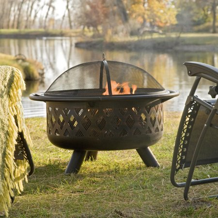 Coral Coast Rubbed Bronze Crossweave 36 inch Wood Burning Fire Pit-With Free Grill Grate and Cover ()