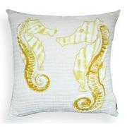 Lorelei Off-white/ Yellow Seahorse 20-inch Pillow
