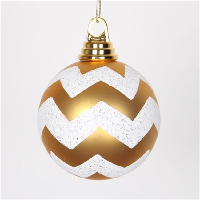 NorthLight Matte Gold And White Glitter Chevron Striped Shatterproof Christmas Ball Ornaments - 4 inch
