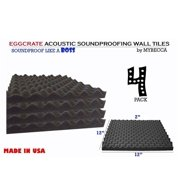 4 PACK Premium 2-inch EGGCRATE Convoluted Acoustic Foam Wall Panel Studio Soundproofing Wall Tiles 12 X 12 Inches, Made in USA