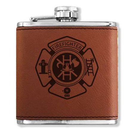 Faux Leather Flask - Firefighter - Dark Brown