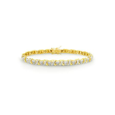 - Diamond Accent X and Heart Design Tennis Bracelet