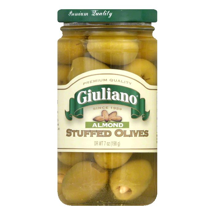 Giuliano Stuffed Almond Olives, 7 OZ (Pack of 6) by