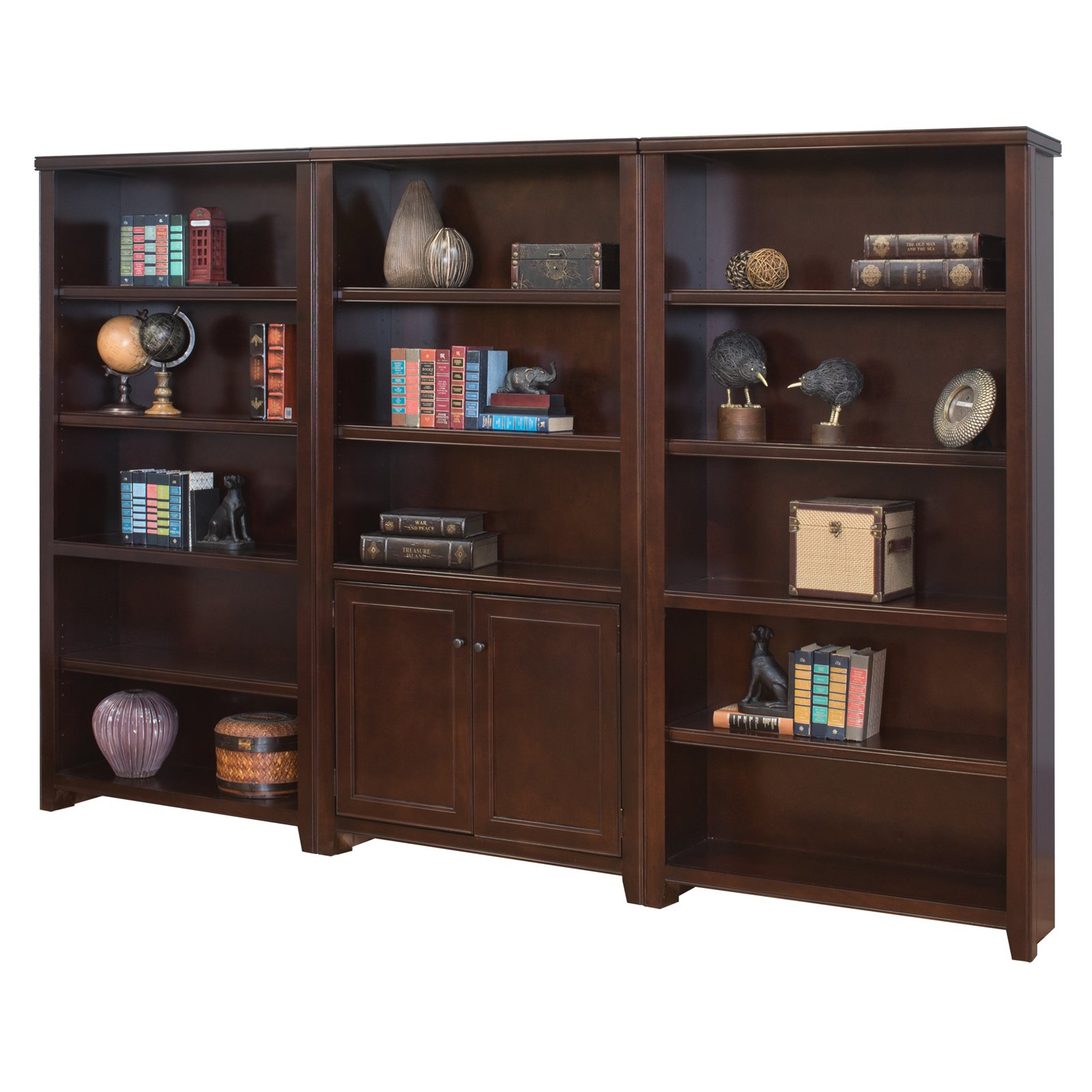 Martin Furniture Tribeca Loft 100 in. Wood Wall Bookcase with Doors - Cherry