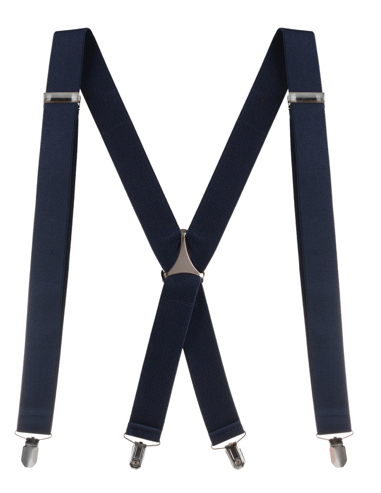 Buyless Fashion Mens 48 Elastic Adjustable 1 1/2 Suspenders In X Shape  Black