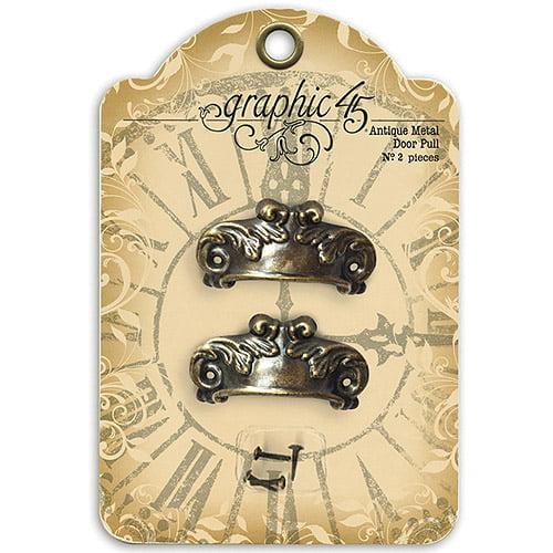 Staples Ornate Metal Door Pulls 2pk, Shabby Chic with 4 Brads