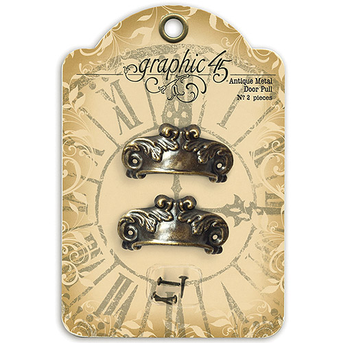 Staples Ornate Metal Door Pulls 2pk, Shabby Chic with 4 Brads