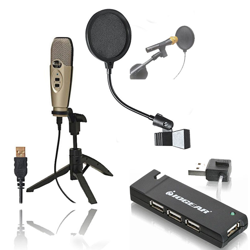 CAD U37 USB Studio Condenser Recording Microphone with Pop Filter + 4-Port USB 2.0 Hub
