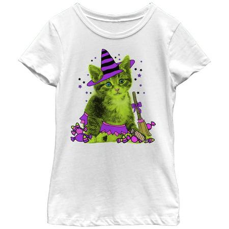 Girls' Halloween Kitten Witch and Candy T-Shirt