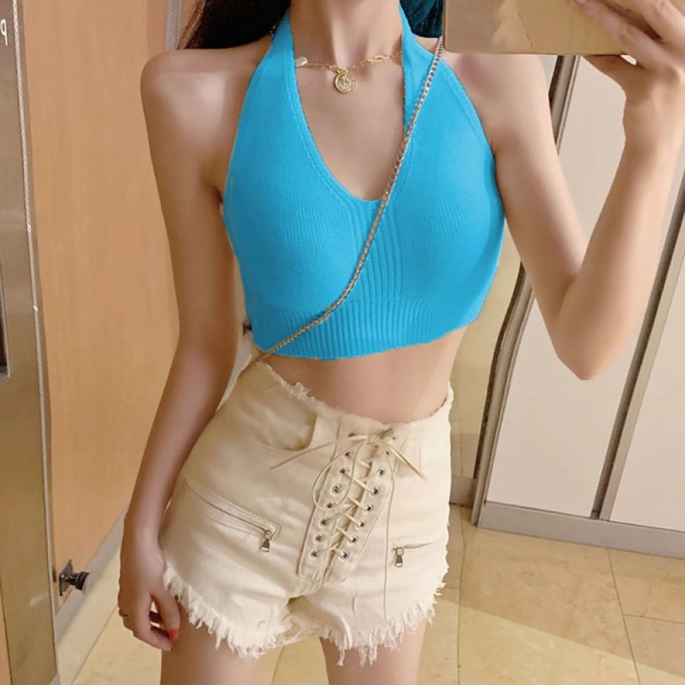 Details about  /Better Bodies Performance Cropped Halter Teal Green