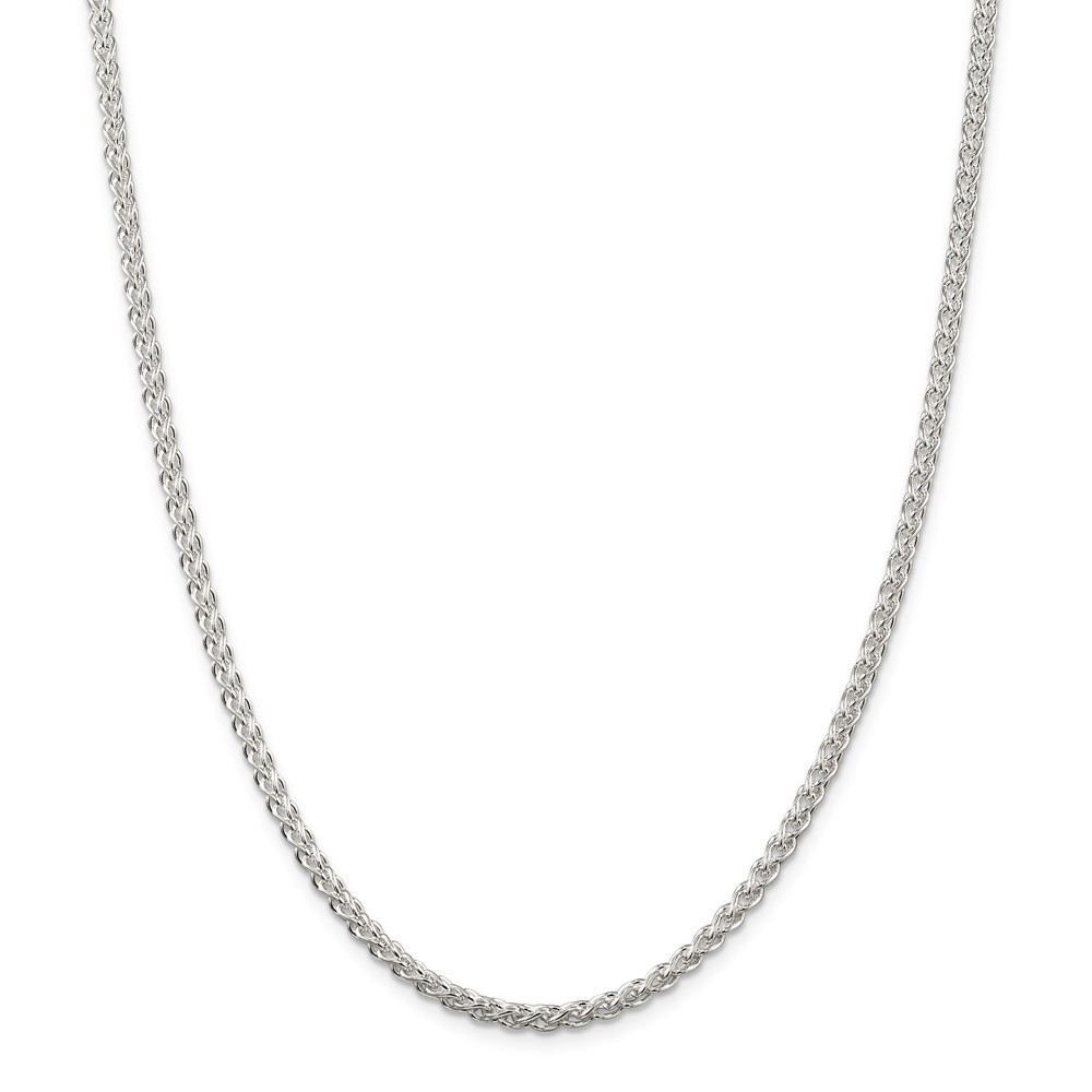Sterling Silver Solid Polished Lobster Claw Closure Wheat Chain - 3mm - Lobster Claw - Length: 16 to 24