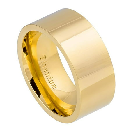 10mm Titanium High Polished Yellow Gold IP Wedding Band Ring For Men Or Ladies