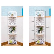 Ktaxon 4 Tiers Wood-Plastic Composites Corner Shelves, White Free Standing Storage Organizer Display Rack