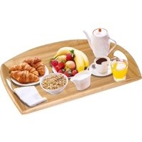 Greenco Bamboo Angular Sides Butler Serving Tray With Handles