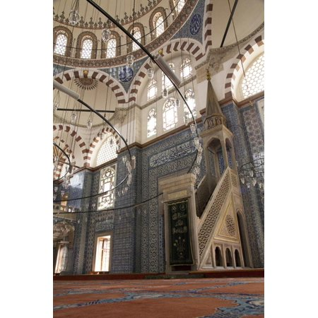 Turkey, Istanbul. Ornate Tile Detail Inside the Yeni Cami Mosque Print Wall Art By Emily Wilson