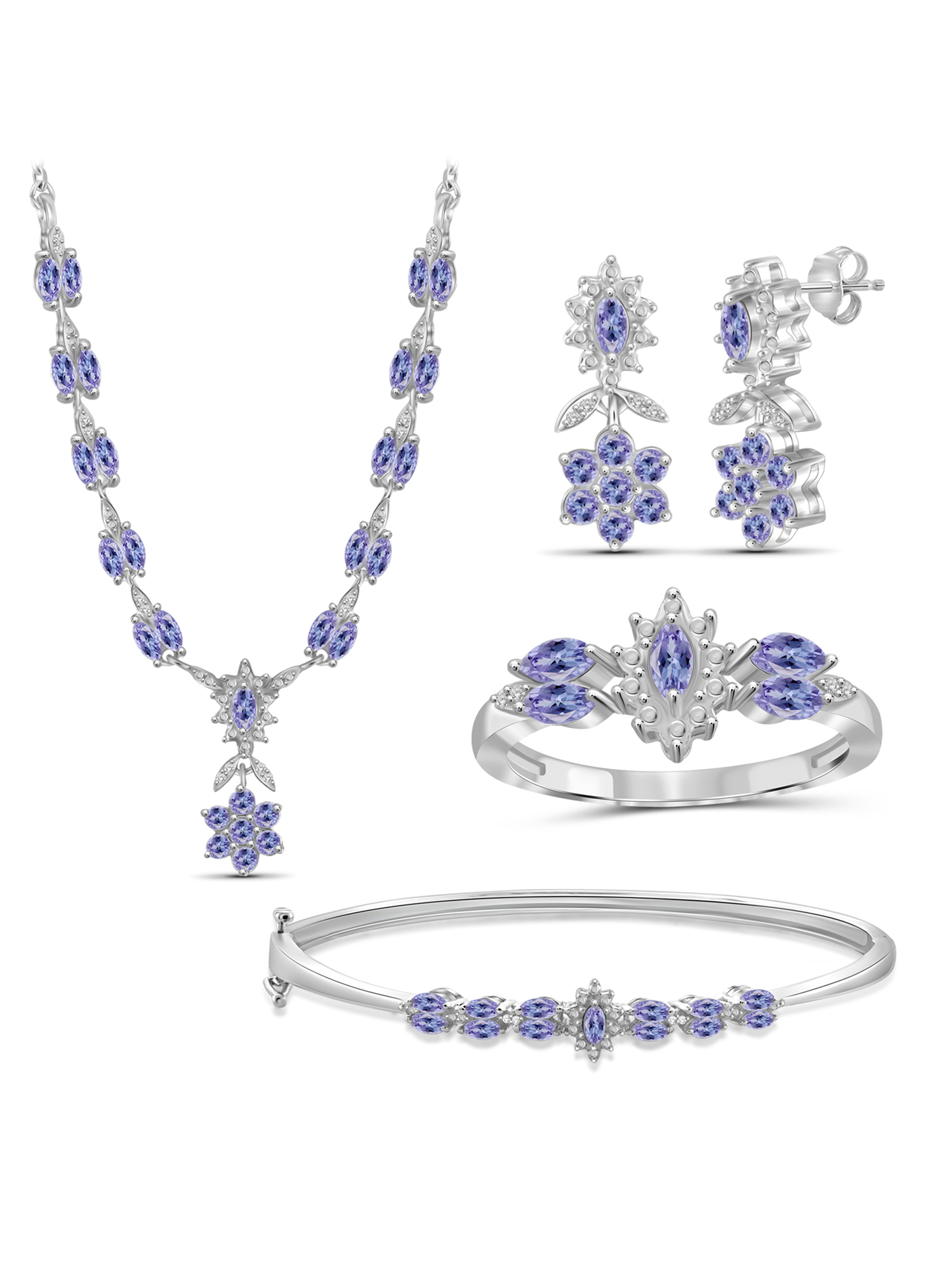 3 3/4 Carat T.G.W. Tanzanite And White Diamond Accent Sterling Silver 4-Piece Jewelry set