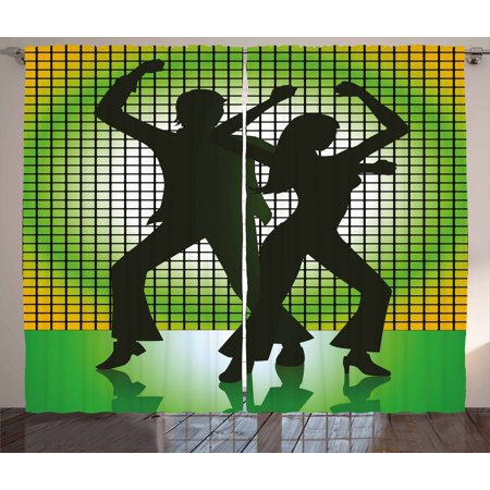 70s Party Curtains 2 Panels Set, Silhouette Illustration of Couple Dancing in Disco Love, Window Drapes for Living Room Bedroom, 108W X 108L Inches, Pale Green Dark Green and Yellow, by Ambesonne