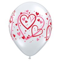 "Valentine's Day Transparent With Red and Pink Hearts 11"" Latex Balloons, 50 CT"