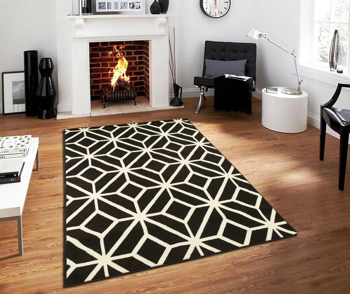 Large Modern 8x11 Black Moroccan Trellis Rug Area Rugs For Living