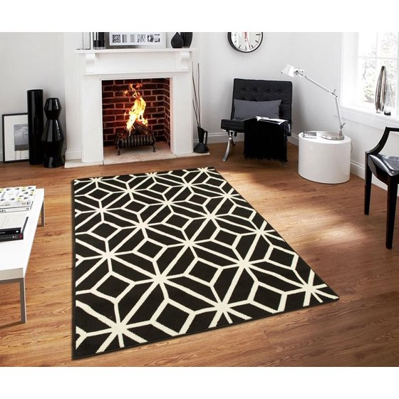 Large Modern 8x11 Black Moroccan Trellis Rug Area Rugs For