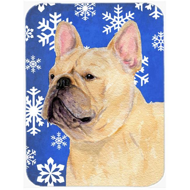 Carolines Treasures SS4623LCB French Bulldog Winter Snowflakes Holiday, Glass Cutting Board - Large - image 1 de 1