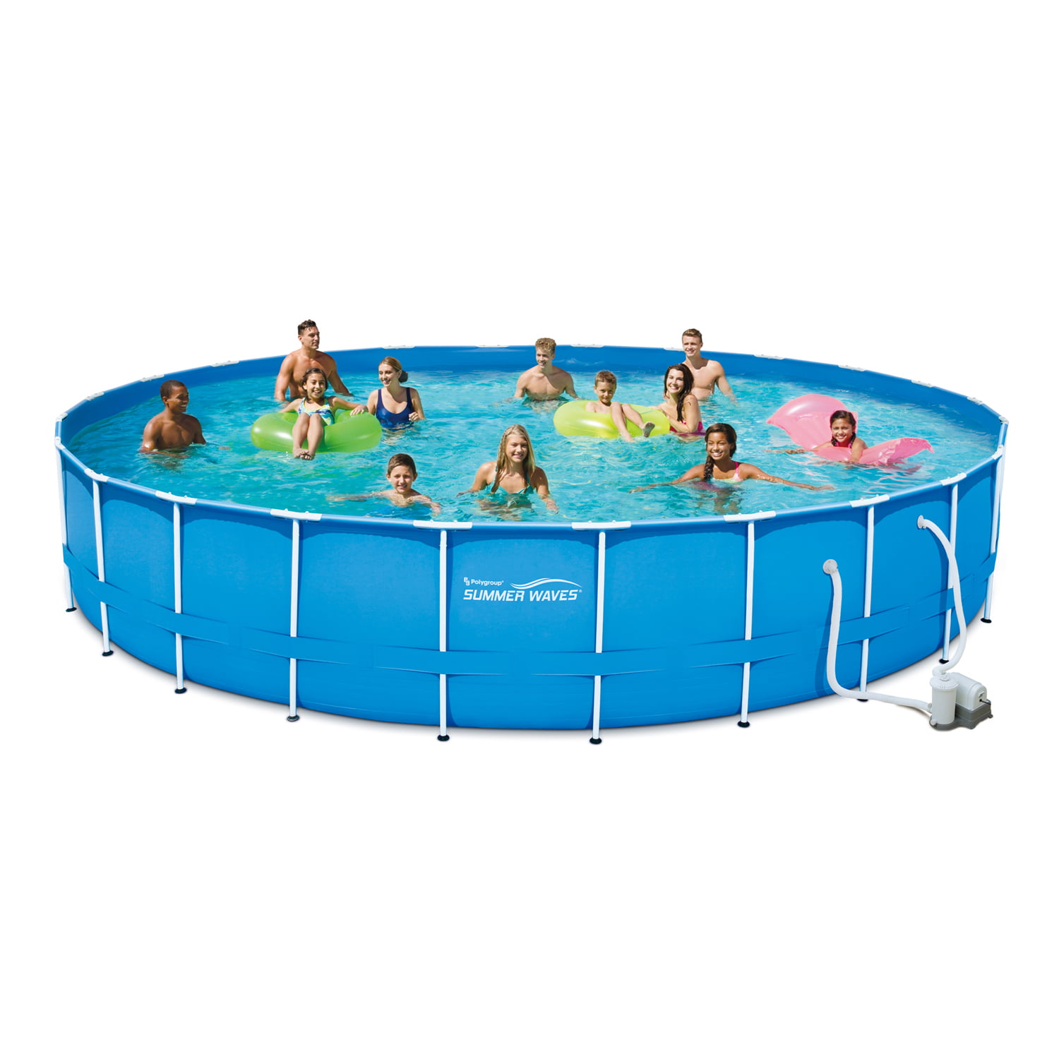 "Summer Waves 24' x 52"" Metal Frame Above Ground Swimming Pool with Filter Pump System And Deluxe Accessory Set by Polygroup"