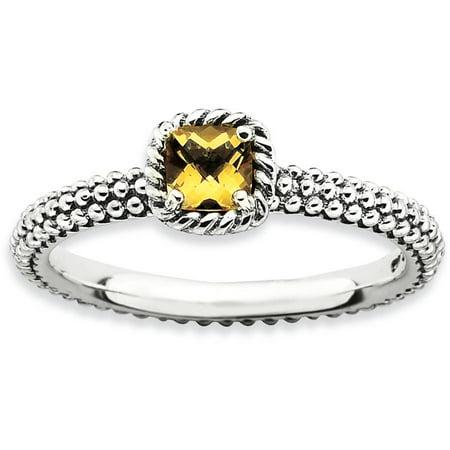 Checker-Cut Citrine Sterling Silver Antiqued Ring - Ring Eraser