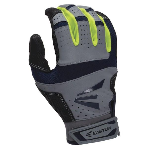 Easton HS9 Neon Batting Gloves - Grey/Navy Large