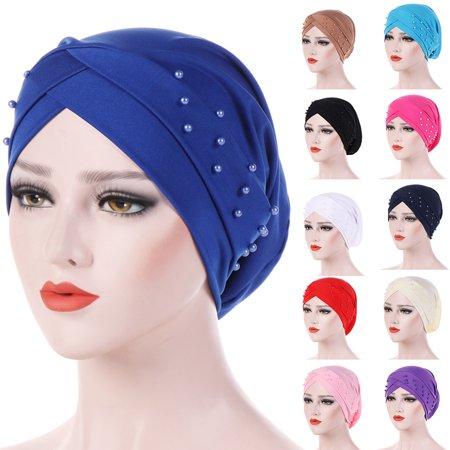 ZeAofaWomen Beads Elastic Turban Hat Muslim Cancer Chemo Cap Hijab Head Wrap](Beaded Graduation Cap)