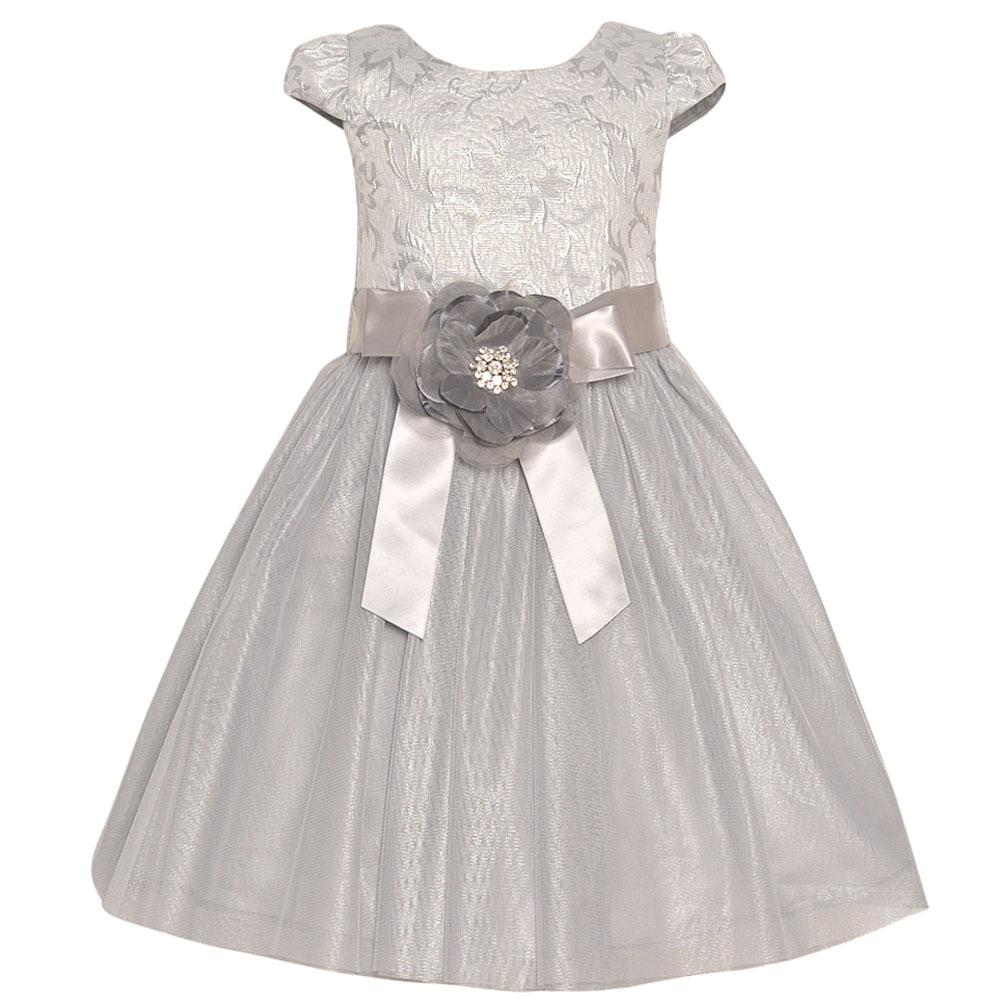 Rare Editions Little Girls Silver Ribbon Flower Adorned O...