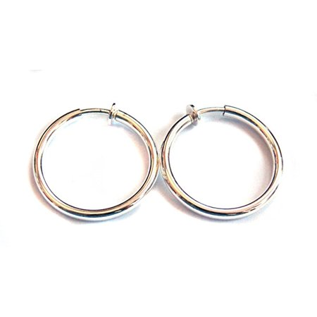 Clip On Earrings Plated Shiny Silver 1 Inch Hoop