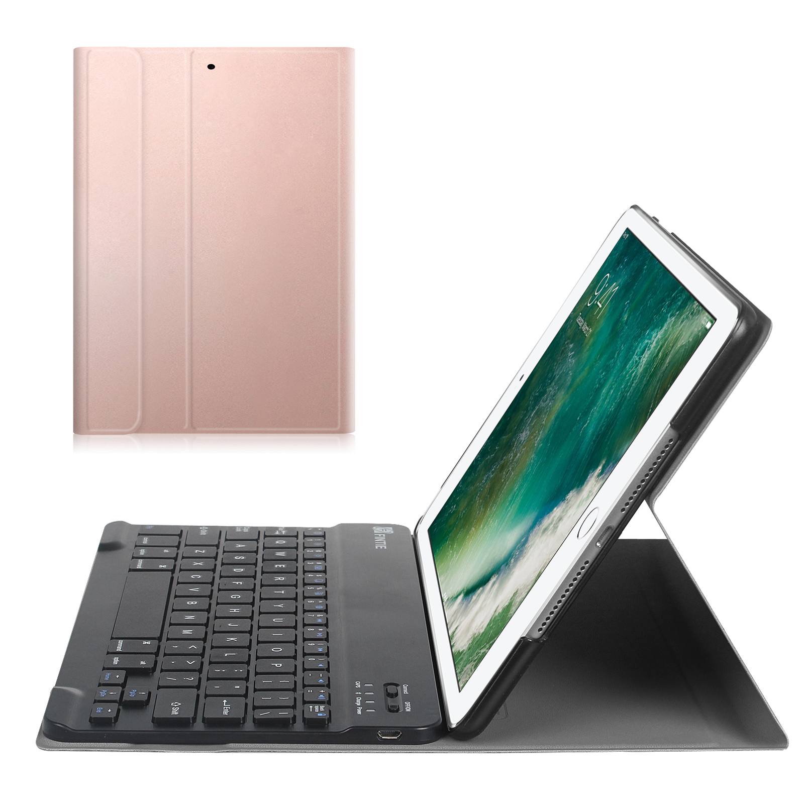 Fintie SlimShell Keyboard Case Cover for iPad 9.7 Inch 6th Gen 2018 / 5th Gen 2017 / iPad Air 2 / iPad Air, Rose Gold