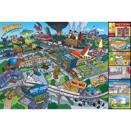 The Simpsons - TV Show Poster / Print (Springfield Locations) (Size: 36