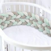Hand-woven four-strand bed guardrail simple anti-collision decoration bed surrounding four-strand twist braid pillow 3M off-white green